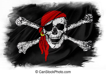 Flag - Pirate flag on plain background