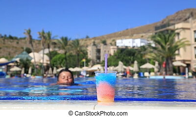 Child drinking summer drink - Happy child drinking summer...