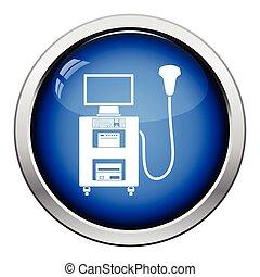 Ultrasound diagnostic machine icon Glossy button design...