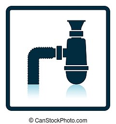 Bathroom siphon icon Shadow reflection design Vector...