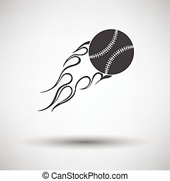 Baseball fire ball icon on gray background, round shadow....