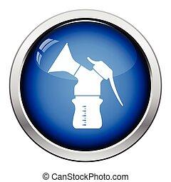 Breast pump icon. Glossy button design. Vector illustration.