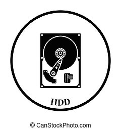 HDD icon Vector illustration - HDD icon. Flat color design....