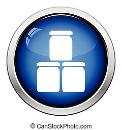 Baby glass jars icon Glossy button design Vector...