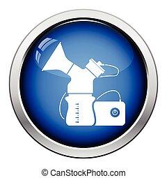 Electric breast pump icon. Glossy button design. Vector...