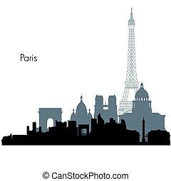 Paris vector skyline - Paris France city skyline vector...