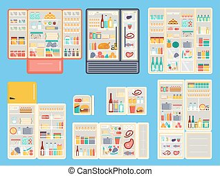 Open refrigerator products vector set - Illustration of open...