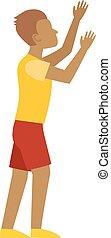 Man hands up vector illustration - Handsome excited man...