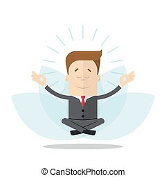 Cartoon businessman or manager meditates in the lotus position. Isolated on white background.