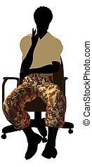 African American Soldier Sitting In An Office Chair...