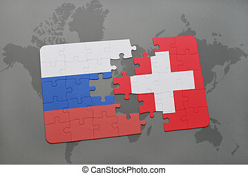 puzzle with the national flag of russia and switzerland on a world map background.