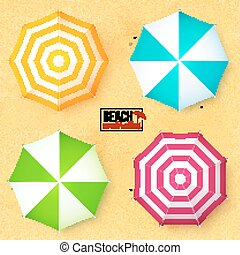 Bright colors umbrellas set on sandy beach seamless...