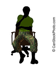 African American Soldier Sitting On An Office Chair...