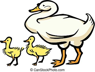 Mother Goose with Two Goslings - Vector illustration of a...