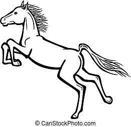 Leaping Horse Kicking Heels - Vector line drawing of a horse...