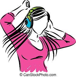 woman listening music and dancing i