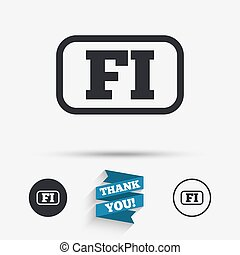 Finnish language sign icon FI translation - Finnish language...