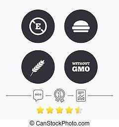 Food additive icon Hamburger fast food sign Gluten free and...
