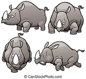 Rhinos - Vector illustration of Cartoon Rhinos Character Set