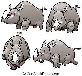 Rhinos - Vector illustration of Cartoon Rhinos Character Set