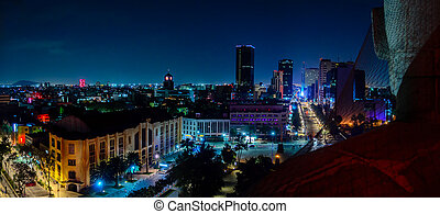 Downtown Mexico City skyline at night from top of the...