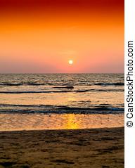 Vertical orange ocean sunset landscape background