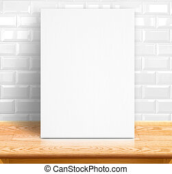 Black White paper poster lean at white ceramic tiles wall...