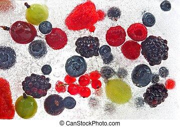 frozen in the ice of various juicy berries