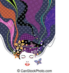 Beauty Hairstyle - Vector illustration of Floral pattern...