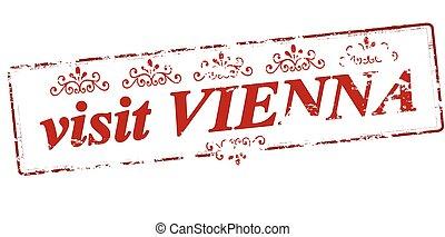 Visit Vienna - Rubber stamp with text visit Vienna inside,...