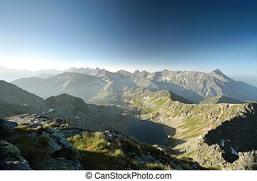 Tatra Mountains at dawn - High peaks over the valley in...