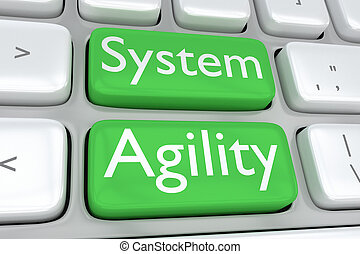 System Agility concept - 3D illustration of computer...