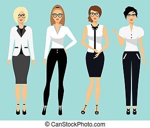 Set of business clothes for women. Woman in office . Flat...