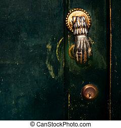 Vintage Door Handle with Dark Dusty Scratchy Texture black...