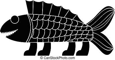 ancient amphibian. stencil.eps