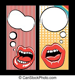Pop art style templates with mouth - Pop art style flyers...