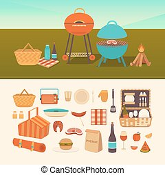 Set of summer picnic - Vector set of summer picnic. Barbecue...