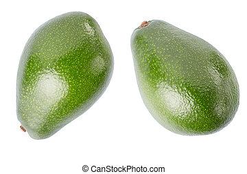 Avocado two fruits on white