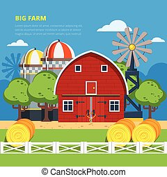 Big Farm Flat Composition - Big farm flat colorful...