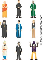 Religion Confession People - Color icons set of religion...