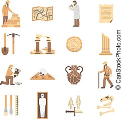 Archeology Icons Set - Set of color flat icons depicting...