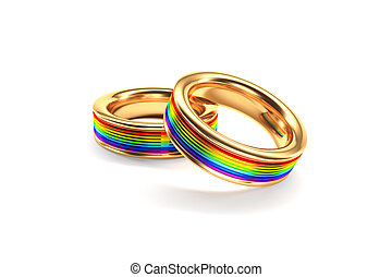 Wedding Rings symbolizing the same sex marriage - 3d...