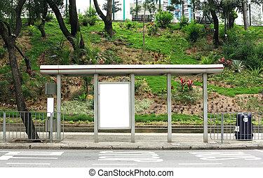 blank advertising billboard on bus stop