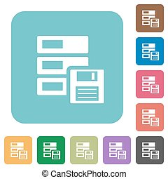 Flat backup symbol icons on rounded square color backgrounds...