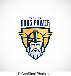 Gods Power Vector Sport Team or League Logo Template. Odin...