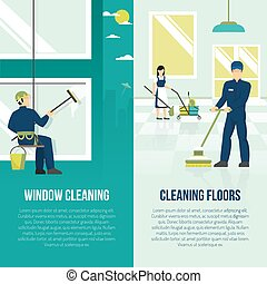 Industrial Cleaning 2 Flat Verticals Banners - Professional...