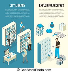 Documents Archive Library Isometric Vertical Banners
