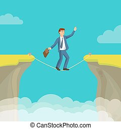 Abyss, gap concept with businessman, sky and clouds. Vector...