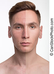 man before and after retouch - Face of handsome man before...