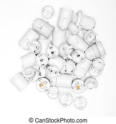 Lamp socket on a white background - a lot of Lamp socket on...